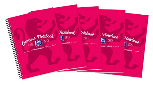 Oxford 400035933 - Paquete de 5 cuadernos de anillas A4, rosa