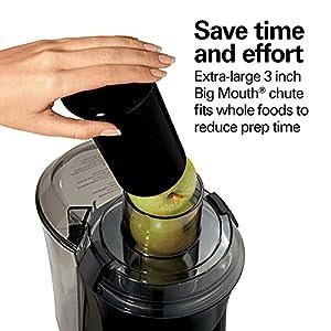 "Hamilton Beach Juicer Machine, Big Mouth Large 3"" Feedchute, Easy to Clean, Centrifugal, BPA Free, 800W Motor, Black"