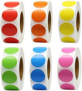 Hcode 1 Inch Color Coding Label Garage Sale Stickers Blank Yard Sale Price Stickers Round Colorful Stickers Permanent Adhesive Dots Stickers Glossy Writable Paper Labels 6000 Pieces