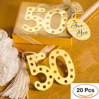 Lote de 20 Elegantes Puntos de Libro 50º Aniversario - Recuerdos y Detalles Bodas de Oro, 50% Aniversarios, Bodas Oro, Recuerdos y Detalles Baratos