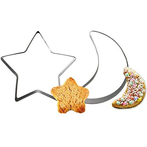 TableRe 2 Pieces Ramadan Star Moon Cookies Cutter Mold Eid Mubarak Ramadan Islamic Cake Decor,New