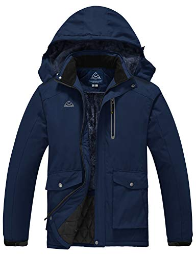 Rdruko Men's Ski Snow Jacket Soft Fleece Outdoor Activities Waterproof Snow Jacket Detachable Hood Navy X-Large