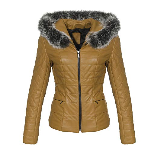 Hollert Damen Lederjacke BRYDA wattierte Echtleder Jacke abnehmbare Kapuze mit echtem Fuchs Größe L, Farbe Senf