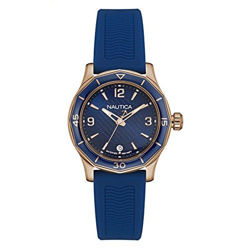Nautica Damen Analog Quarz Uhr mit Silikon Armband 6.56086E+11