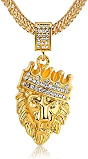 18K Gold Plated Hip Hop Alloy Inlay Rhinestone Long Necklace Pendants for Women Men Lion King Crown Franco 78cm Chain Neck...