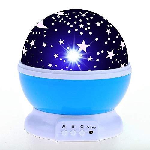 Veilleuse LED Night Light Projector Star Moon Lampe De Bureau pour Bébé Enfants Sommeil Anniversaire LED Lumière Intérieure Batterie USB Fée Coloré Yx03-04-P-Bleu