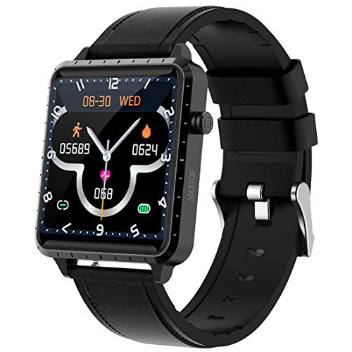 maxtop Smart Watch for Android iOS Phone Fitness Tracker with Music Control &Blood Pressure &Heart Rate Monitor Step&Calorie Counter&Sleep Tracker,Metal Shell(Black)