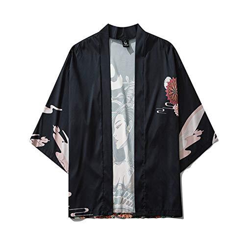 RAXYQ Chaqueta de Kimono Japonesa para Hombre Chaqueta de Punto con Siete Mangas Abrigo Frontal Abierto,Black-M