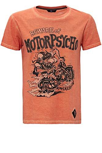 King Kerosin Herren Oil Washed Print T-Shirt Used Look Motorpsycho Rundhals Kurzarm Slim Fit Motorpsycho