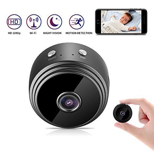 Kimwood Mini cámara Oculta, 1080P HD Mini WiFi Cámara Espía Oculta Portátil Interior/Hogar Cámara IP de Seguridad, para iPhone/Android Phone/iPad/PC con Ranura de expansión de Memoria 128GB