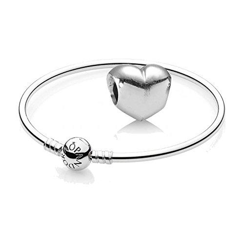 Pandora Original Geschenkset - 1 Silber Armreif 590713-19 und 1 Silber Element Herz 790137