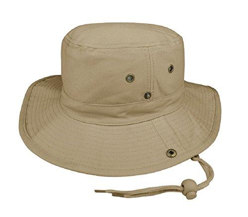 MG Brushed Twill Aussie Side Snap Hat w/ Chin Cord (Khaki, Small)