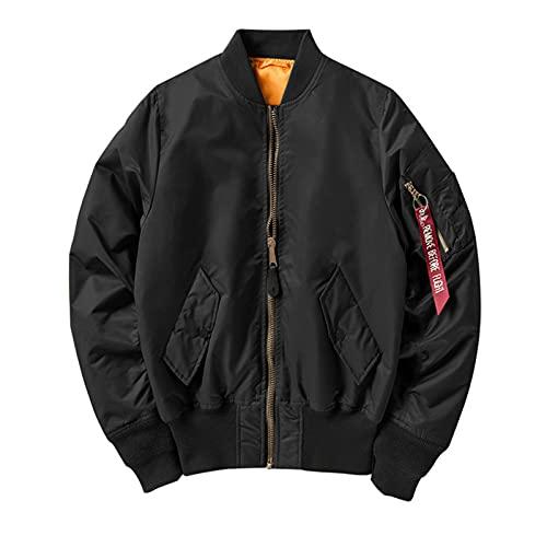 Padded Spring Jacket Men Flight Windbreaker Waterproof Bomber Coat Mens Polit Jackets Black Winter Jacket M (55-65kg)