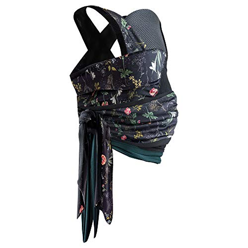 Boppy Newborn Baby Carrier—ComfyHug | Black Botanic Hardware Free | Hybrid Wrap | 2 Carrying Positions, 0m+ 5-20lbs | Size Inclusive, Infant Carrier for Bonding
