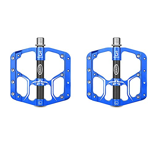Pedales Bicicleta Montaña, Antideslizante Ligeros Pedales MTB Plataforma, Pedales Bicicleta con 3 Cojinetes Sellados para Bicicleta De Carretera BMX/MTB Road Bicycle 9/16 Pulgadas (Color : Blue)