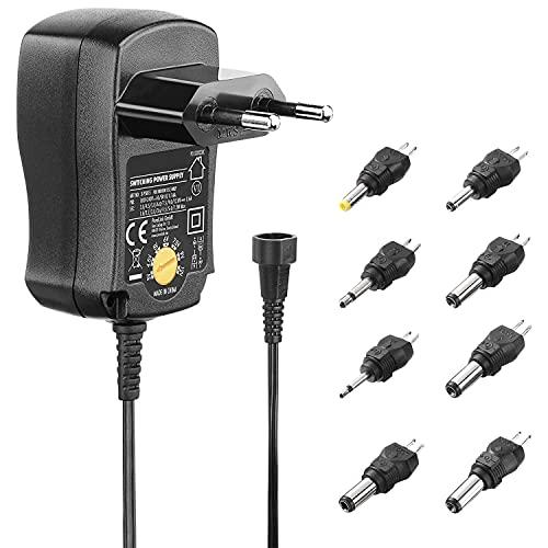PerfectHD Universal Netzteil - Steckernetzteil 12v - 0,6 A - Universal Adapter - 3v bis 12v - Umweltfreundlich - schwarz - 5 Varianten
