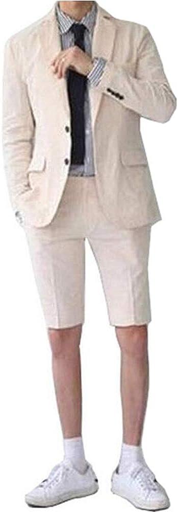 Notch Lapel Summer Men Suit 2 PC(Jacket+Short Pants) Blazer Slim Fit Formal Business Grooms Tuxedo