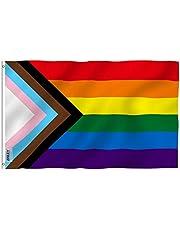 Anley Fly Breeze 3x5 Feet Progress Pride Rainbow Flag - Levendige kleuren en vervagingsbestendig - Canvas header en dubbel gestikt - LGBT-vlag Polyester met messing doorvoertules 3 X 5 Ft