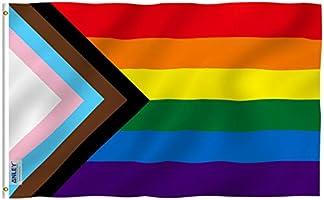 Anley Fly Breeze 3x5 Feet Progress Pride Rainbow Flag - Levendige kleuren en vervagingsbestendig - Canvas header en...