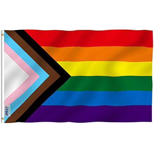 Anley Fly Breeze Bandera arcoíris Progress Pride de 3 x 5 pies - Colores Vivos...