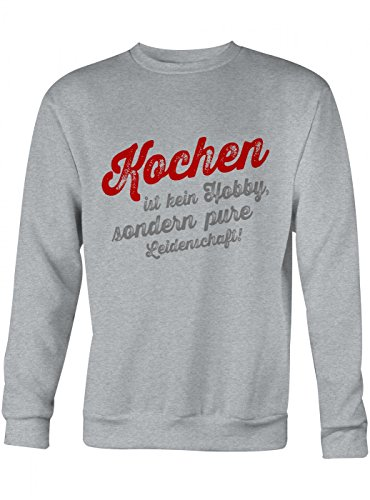 Kochen Sweatshirt | Koch-Pullover | Chefkoch | Kochprofi | Unisex | Sweatshirts, Farbe:Graumeliert;Größe:XS