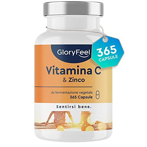 Integratore Vitamina C + Zinco, Vitamin C 500 mg + 10 mg Zinco, 365 Capsule Vegan, Vitamina C Tamponata con Ascorbato di Calcio, Integratore Difese Immunitarie, Clinicamente Testato