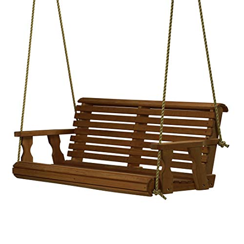 Amish Heavy Duty 800 Lb Roll Back Treated Porch Swing with Hanging Ropes (4 Foot, Semi-Solid White Stain)