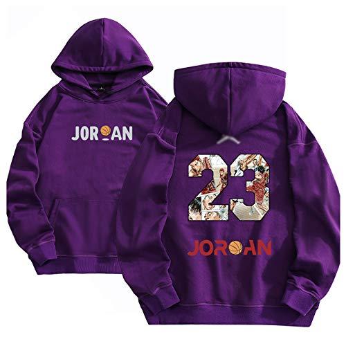 Männer # 23 Jordan Long Sleeve Basketball Jersey, Big Boys Pullover mit Kapuze Pullover Pullover Sport-T-Shirt mit lässigen Sportswear, Lila Purple-XXXL