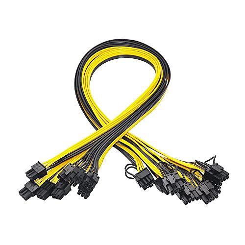 bulingbuling GPU Cable de alimentación de 6 Pines PCIe para 8Pin 6 + 2 Pines PCIe Macho a Macho Conectores de Cable Divisor 10PCS