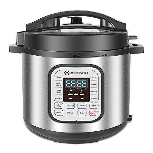 MOOSOO 12-in-1 Electric Pressure Cooker, Instant Digital Programmable Pressure Pot, 6 Quart Pressure Cooker, Stain-Resistant Slow Cooker, Rice Cooker, Steamer, Saute, Yogurt Maker, Cake Maker, Sterilizer, 10+ Deluxe Accessories and Recipe