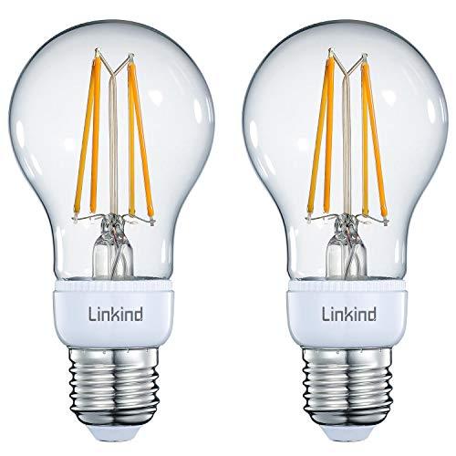 Linkind Pack de 2 bombillas LED vintage inteligente, E27, 806 lm, bombilla Edison regulable, equivalente a bombilla de 70 W, 2700 K, luz blanca cálida, se requiere puente/hub, compatible con Alexa