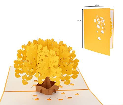 EUFANCE tridimensional ginkgo 3D tarjeta de felicitación emergente para cumpleaños de aniversario, Halloween, Año Nuevo, Acción de Gracias, Navidad, boda para el Día de San Valentín