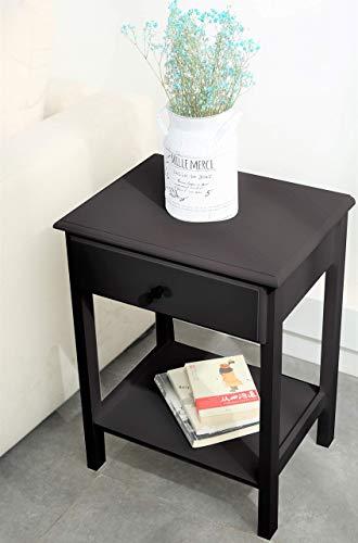 Etnicart - Mesita de noche de madera MDF wenge mesa de café, sofá, salón, café, 46 x 35 x 60 cm