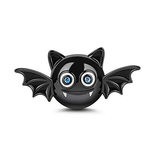 Gnoce Charm Pipistrello Nero in Agento S925 Sono Adorabile  Charms con Zirconi per bracciali e Collana Regalo di Natale per Famiglia Moglie Figlia Amico