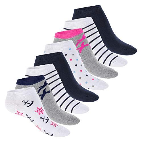 Footstar Damen Motiv Sneaker Socken (8 Paar), Kurze süße Söckchen mit Mustern - Maritim 35-38