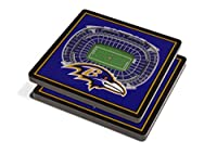 "YouTheFan NFL 3D Team StadiumViews 4x4 Coasters - Set of 2, Baltimore Ravens, 4"" x 4"", Team Color"