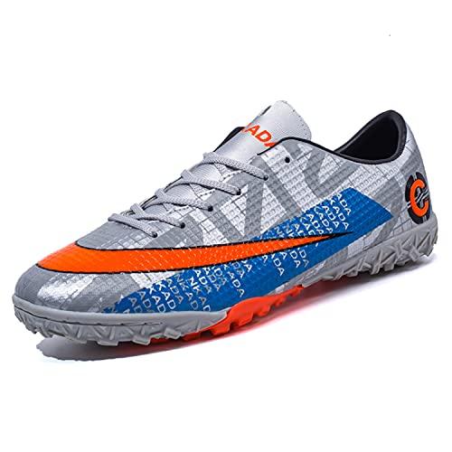 VTASQ Zapatillas de Fútbol Hombre Profesionales Antideslizante para Entrenar al Aire Libre Atletismo Zapatos de fútbol Zapatos de Entrenamiento Zapatos de Deporte Naranja Gris 44EU