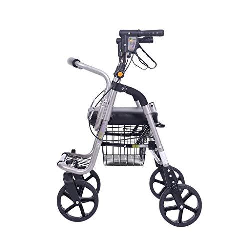 HFENGHUANG Faltbare Walker für ältere Menschen mit Dual-Bremsen und Pedalen mit Sitz und Rädern zum Wandern und Einkaufen