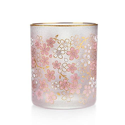 Taza de café de cristal Conjunto de copa de vidrio esmerilado de Sakura de 2 10 oz Sakura Copa de café Whisky Whisky Bebida extranjera Bebida Glassware Libre de vidrio sin plomo Tazas de vidrio