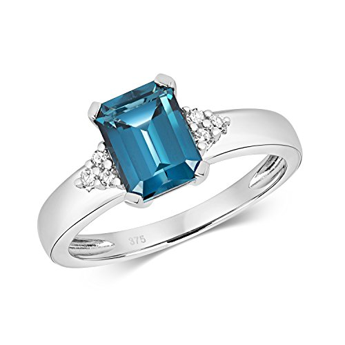 London Blue Topaz and Diamond Ring White Gold Emerald Cut Solitaire Appraisal Certificate Engagement Size J - R Hallmarked (P)