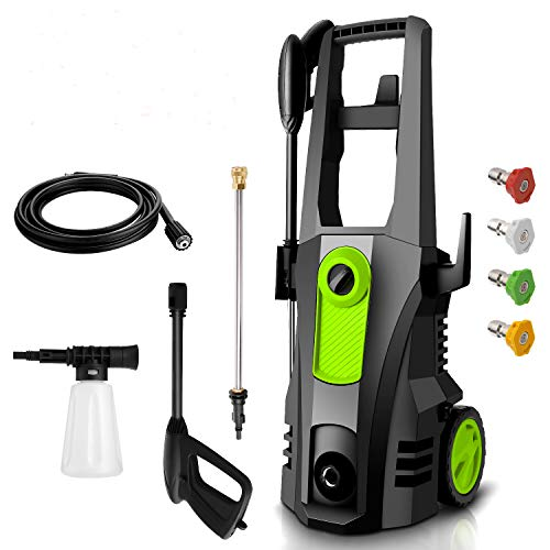 TEANDE Electric Pressure Washer 3500 PSI High Pressure Power Washer Machine with 4 Nozzles, Soap Bottle and Hose Reel, 2.6 GPM 1800W Best for Cleaning Homes, Decks, Cars, Driveways, Patios(Green)