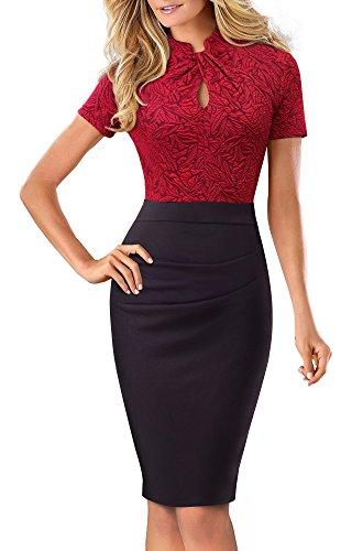 HOMEYEE Damen Vintage Stehkragen Kurzarm Bodycon Business Bleistift Kleid B430 (EU 36 = Size S, Rot + Schwarz)