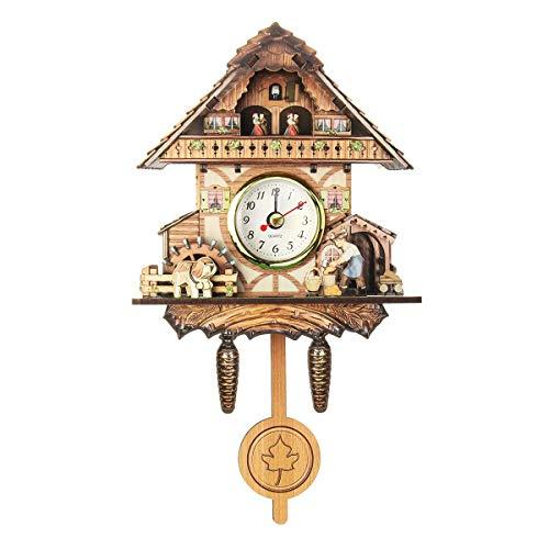 N/A 4 tipos de cuco vintage de madera para colgar en la pared, reloj de pared silencioso para niños