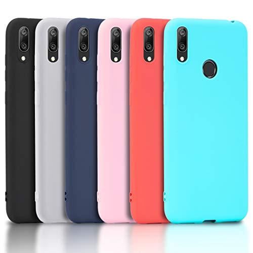 Wanxideng - 6X Carcasa Xiaomi Redmi 7, Funda de silicona Soft Opaque TPU - Funda de silicona mate [Negro + Rojo + Azul oscuro + Rosa + Menta verde + Translúcido]