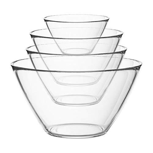Bormioli Rocco 4pc di Base di Vetro di mescolanza della Cucina Bowl Set - Ciotole per Preparazione e Il Servizio - 4 Formati