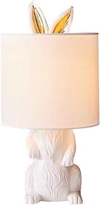 &Luz para leer Lámpara de mesa Creatividad moderna Resina Conejo Lámpara de escritorio Lectura junto a