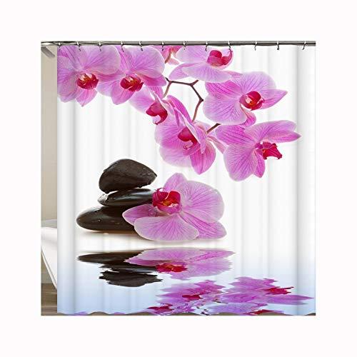 Knbob Duschvorhang Unisex Orchidee mit Steinen Orchidee mit Steinen Shower Curtain 180X200CM mit Vorhanghaken Badezimmer Gardinen