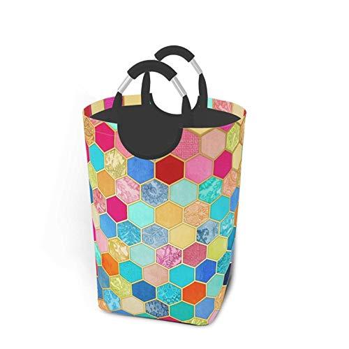N\A Canasta de lavandería portátil Plegable con diseño de Panal de Abeja en Colores Joya, Organizador de canastas de Ropa Sucia con asa para Soporte de Libros de Juguete, Almacenamiento de Lavado