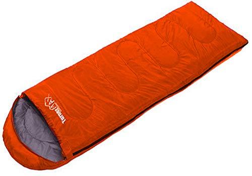 TurnerMAX Einzel-Schlafsack, für den Außenbereich, für Erwachsene, für 1Person, für Wandern, Camping, mit Reißverschluss-Hülle, wasserdicht, Orange