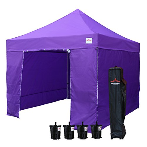 UNIQUECANOPY 10'x10' Ez Pop Up Canopy Tent Commercial Instant Shelter, with 4 Removable Zippered Side Walls and Heavy Duty Roller Bag, 4 Sand Bags Purple